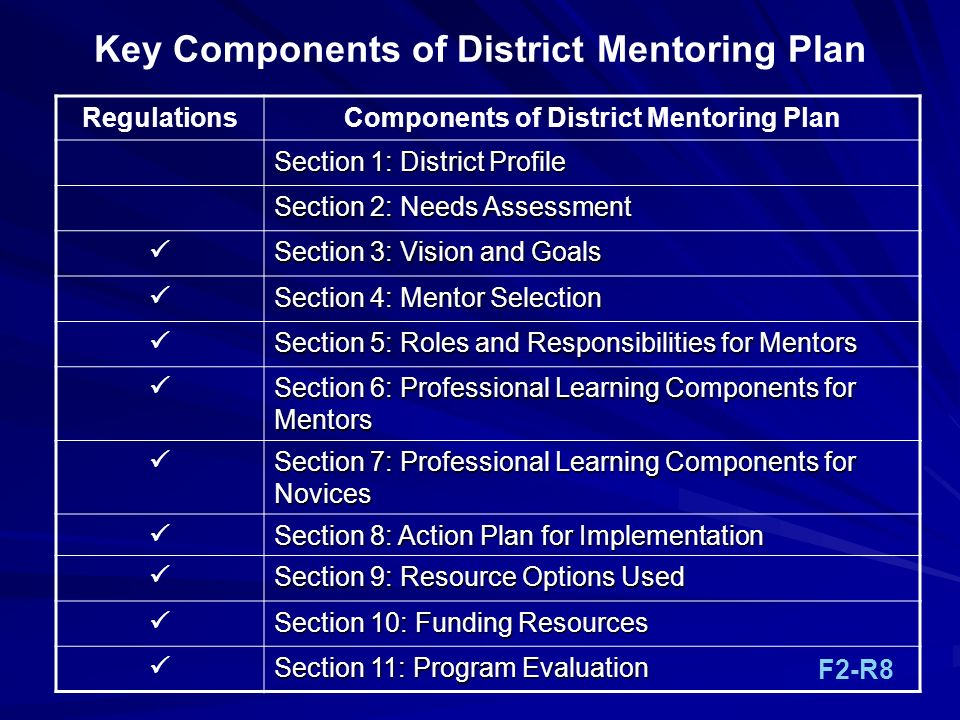 Key Components of District Mentoring Plan