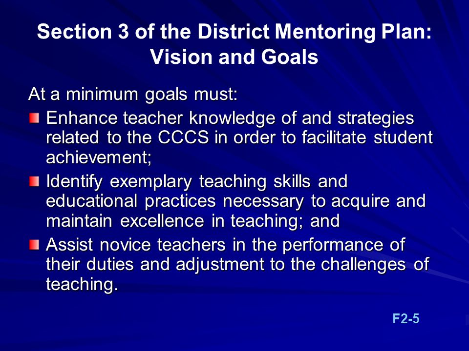 Section 3 of the District Mentoring Plan: Vision and Goals