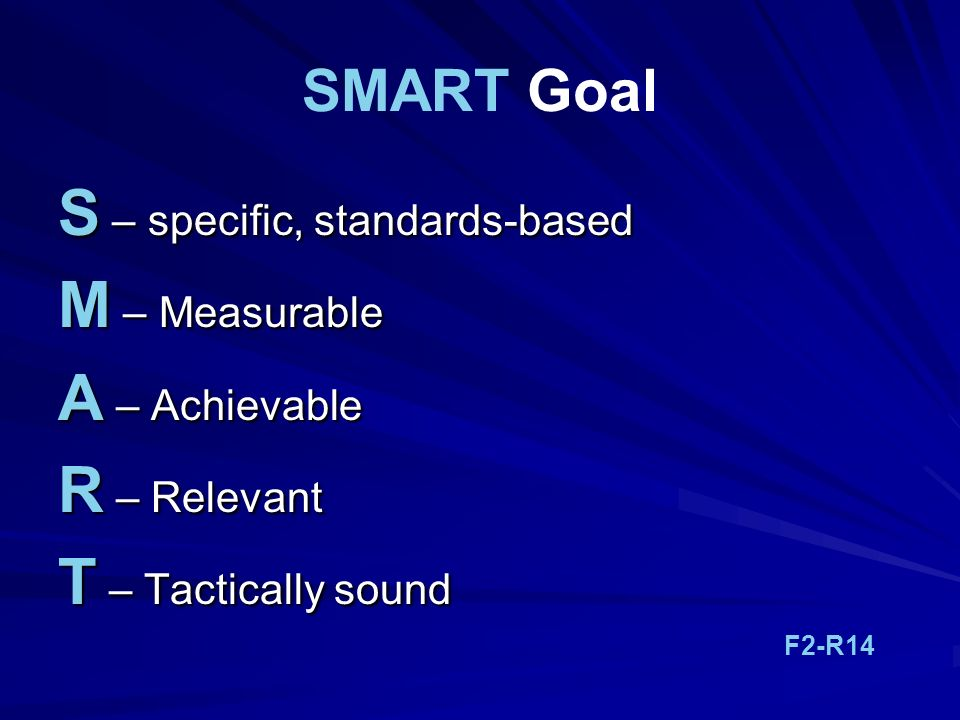 S – specific, standards-based M – Measurable A – Achievable