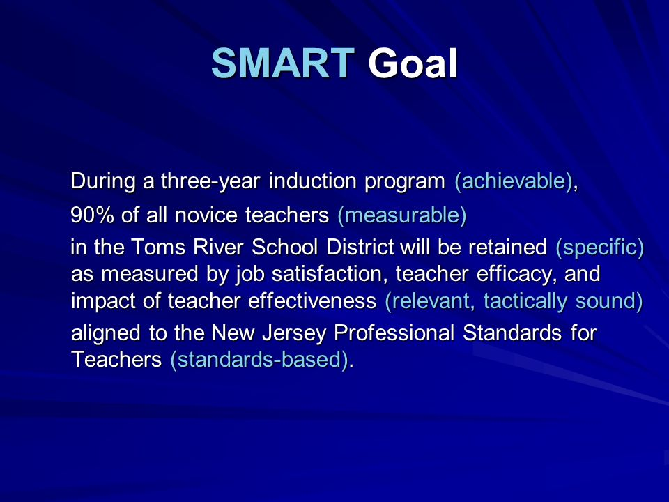 SMART Goal During a three-year induction program (achievable),