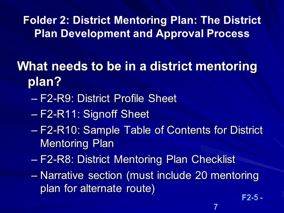 What needs to be in a district mentoring plan