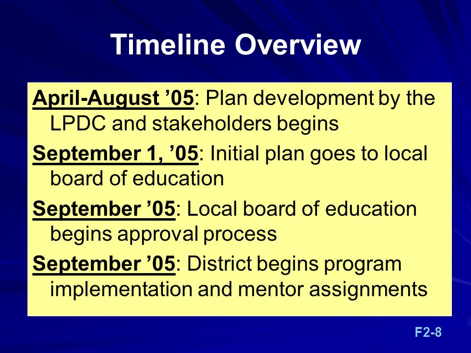 Timeline Overview April-August '05: Plan development by the LPDC and stakeholders begins.
