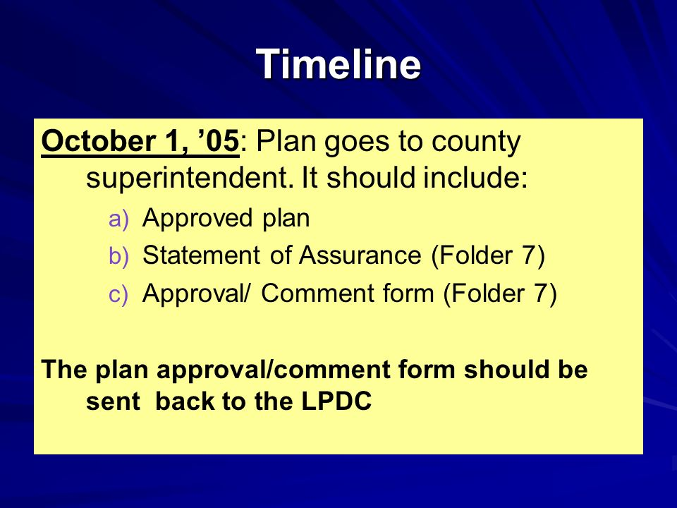 Timeline October 1, '05: Plan goes to county superintendent. It should include: Approved plan. Statement of Assurance (Folder 7)