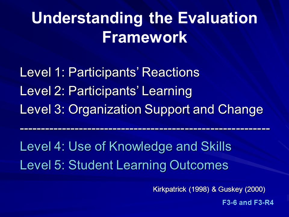 Understanding the Evaluation Framework