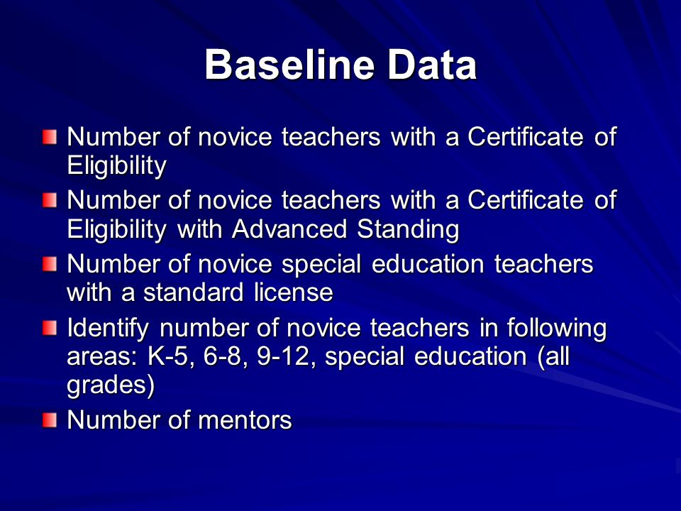 Baseline Data Number of novice teachers with a Certificate of Eligibility.