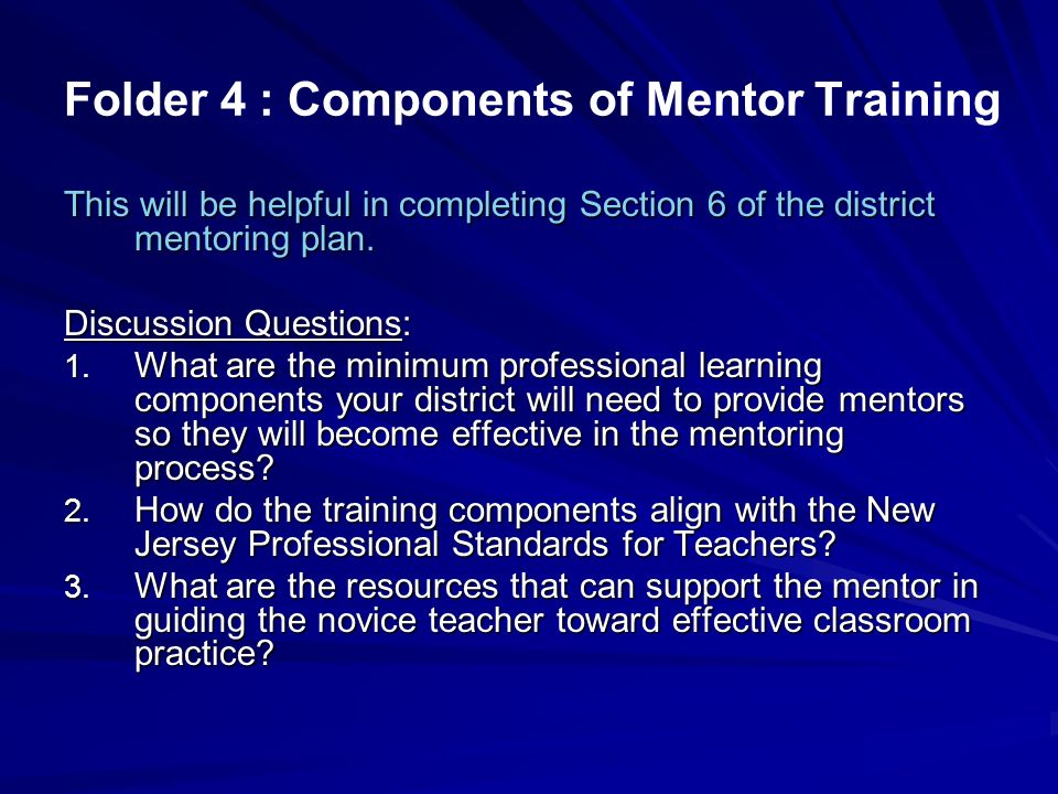 Folder 4 : Components of Mentor Training