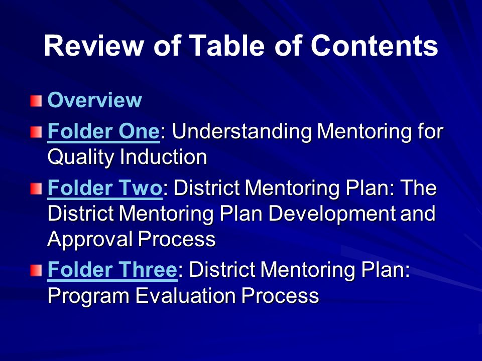 Review of Table of Contents