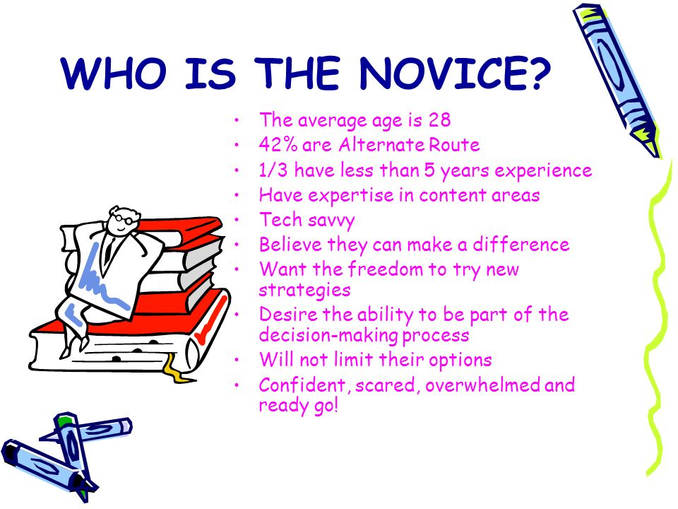 WHO IS THE NOVICE The average age is 28 42% are Alternate Route