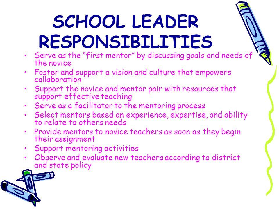 SCHOOL LEADER RESPONSIBILITIES