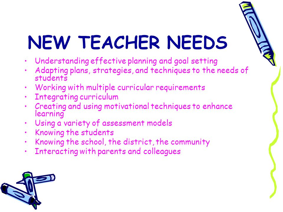 NEW TEACHER NEEDS Understanding effective planning and goal setting