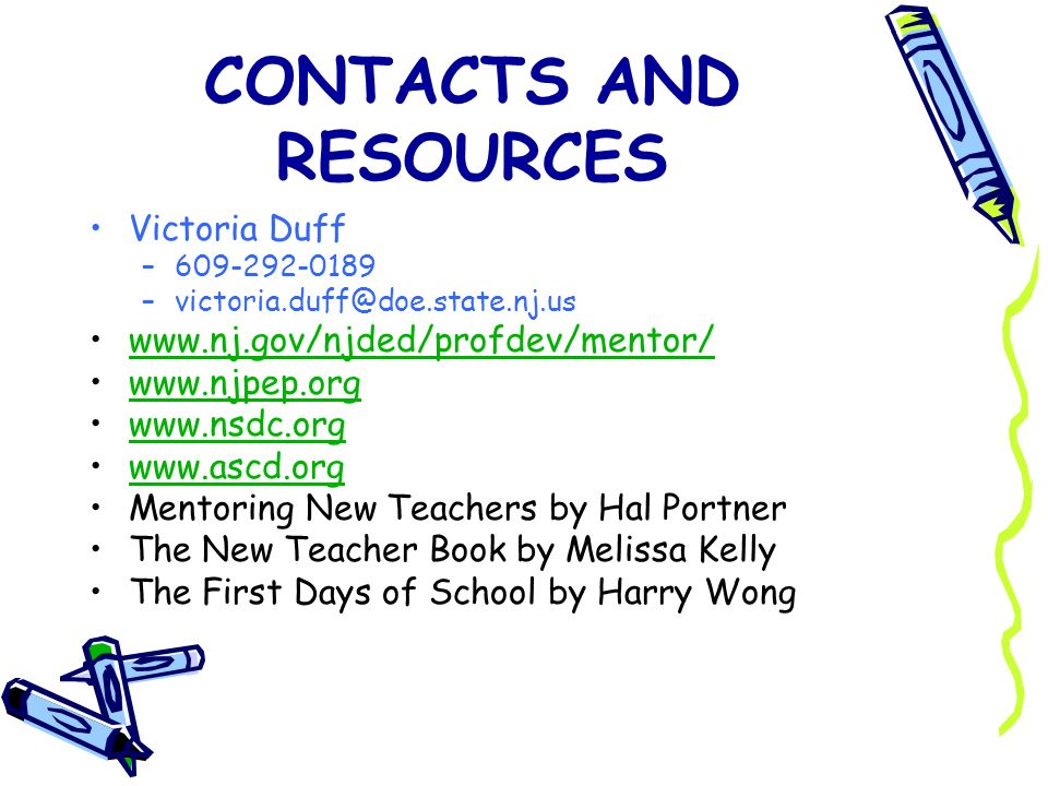 CONTACTS AND RESOURCES