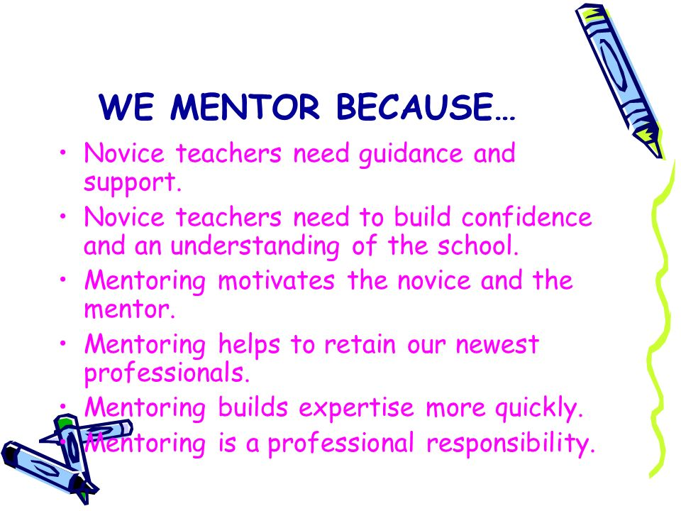 WE MENTOR BECAUSE… Novice teachers need guidance and support.