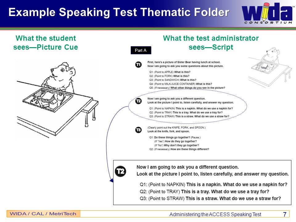 Example Speaking Test Thematic Folder