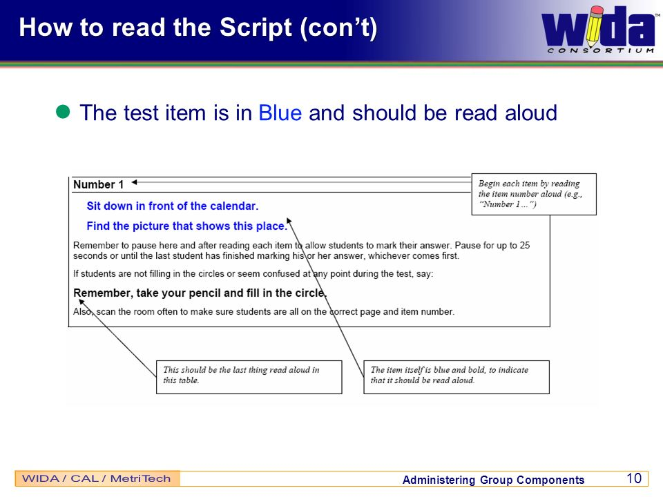 How to read the Script (con't)