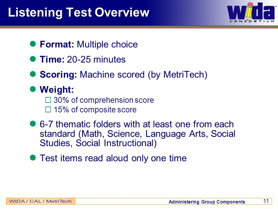 Listening Test Overview