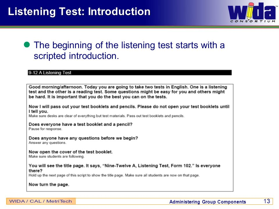 Listening Test: Introduction