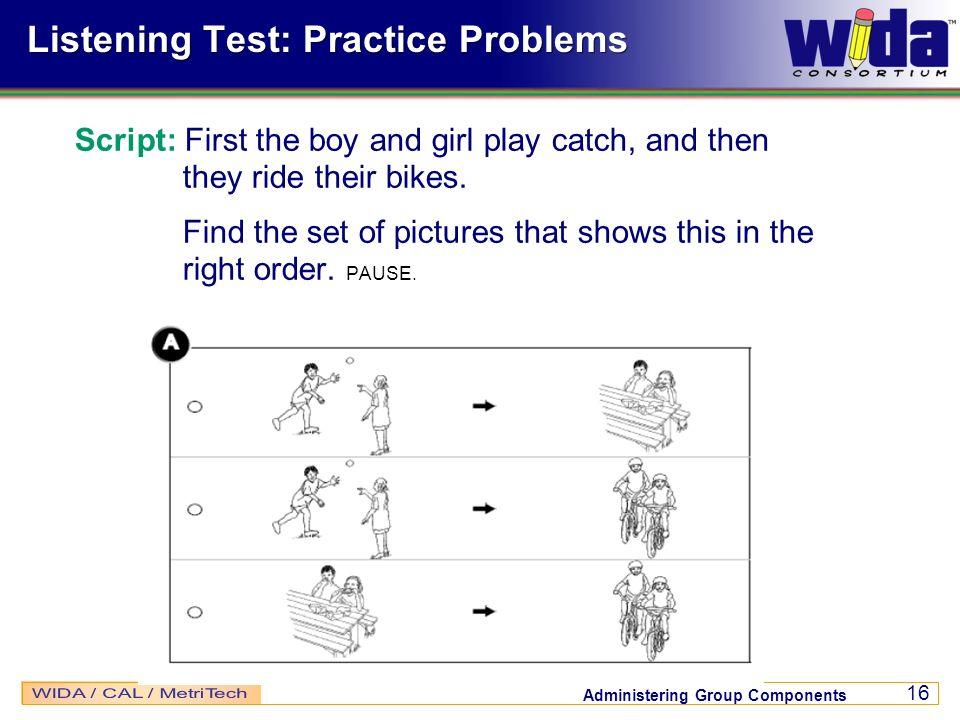 Listening Test: Practice Problems
