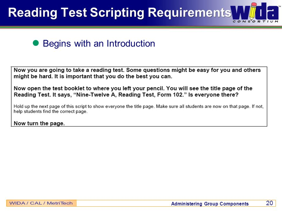 Reading Test Scripting Requirements
