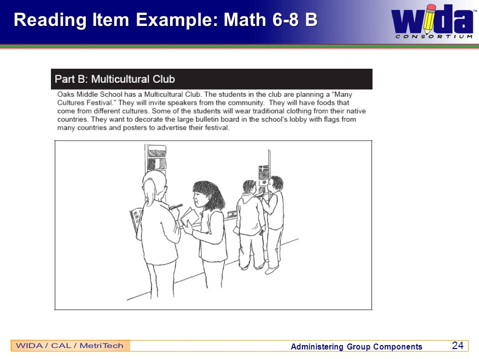 Reading Item Example: Math 6-8 B