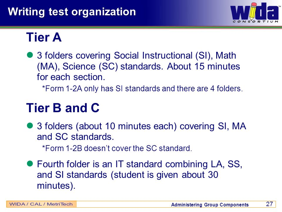 Writing test organization