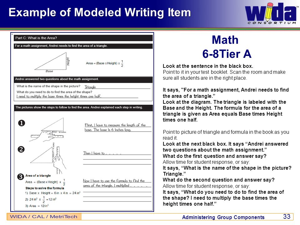 Example of Modeled Writing Item