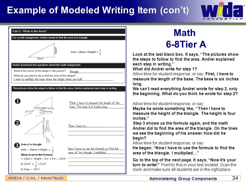 Example of Modeled Writing Item (con't)