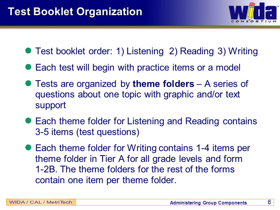 Test Booklet Organization