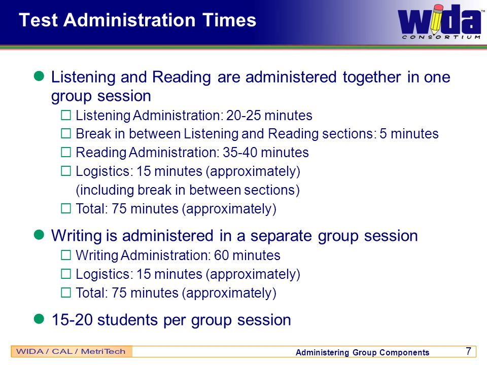 Test Administration Times