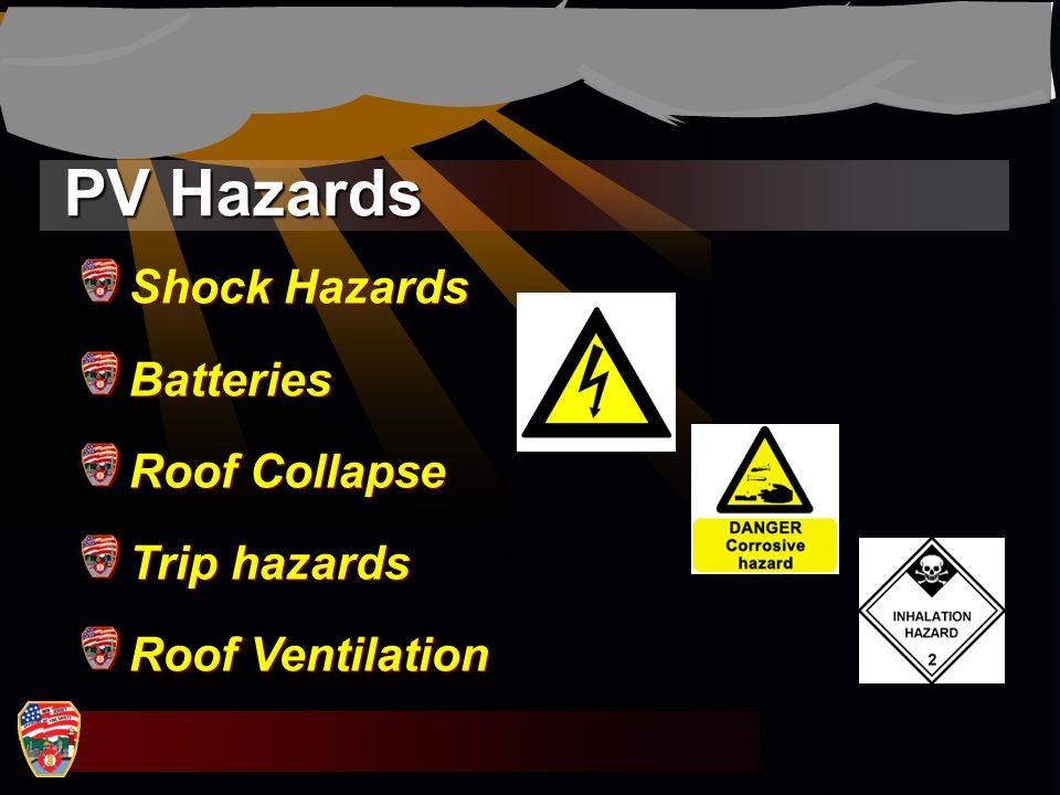 PV Hazards Shock Hazards Batteries Roof Collapse Trip hazards