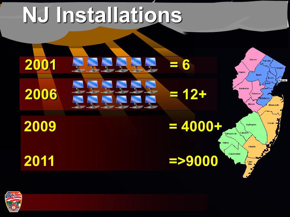 NJ Installations 2001 = 6 2006 = 12+ 2009 = 4000+ 2011 =>9000