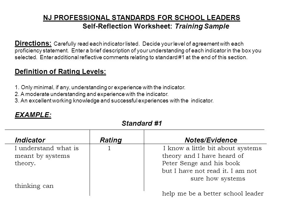 NJ PROFESSIONAL STANDARDS FOR SCHOOL LEADERS