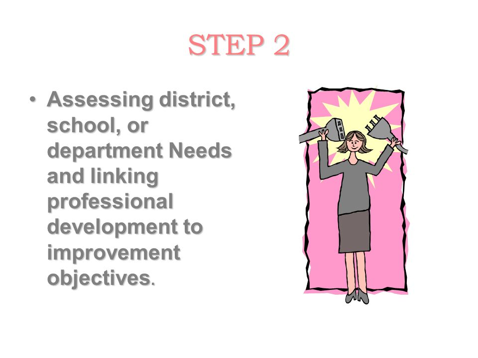 STEP 2Assessing district, school, or department Needs and linking professional development to improvement objectives.