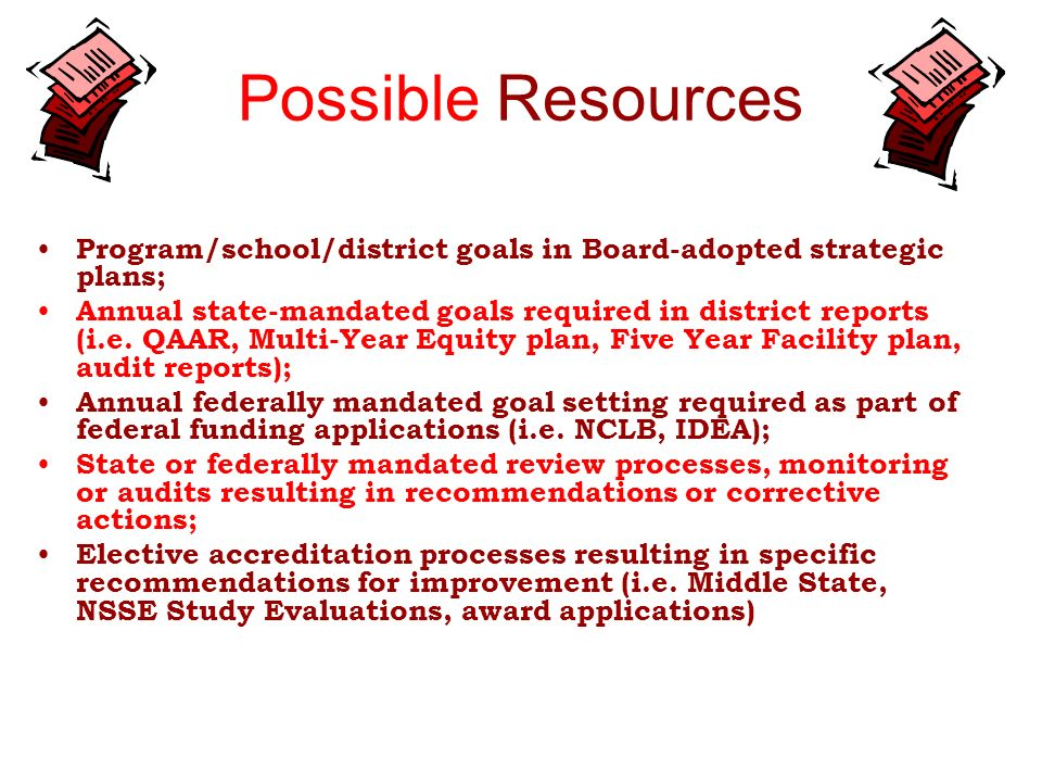 Possible ResourcesProgram/school/district goals in Board-adopted strategic plans;