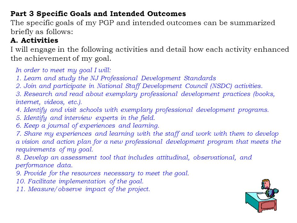 Part 3 Specific Goals and Intended Outcomes