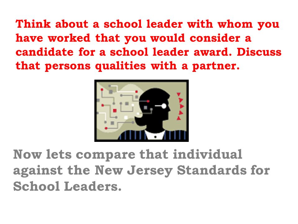 Think about a school leader with whom you have worked that you would consider a candidate for a school leader award. Discuss that persons qualities with a partner.