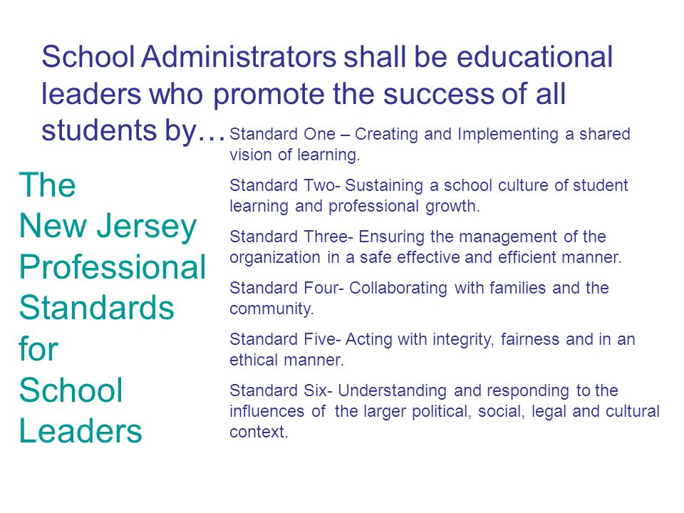 The New Jersey Professional Standards for School Leaders