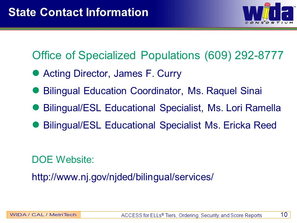 Office of Specialized Populations (609) 292-8777