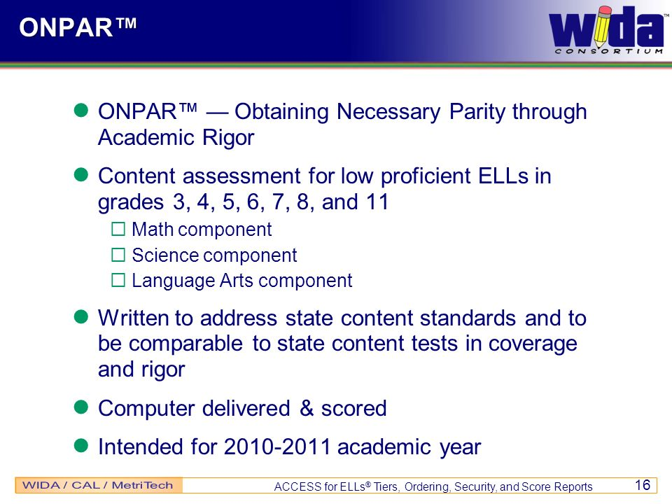 ONPAR™ ONPAR™ — Obtaining Necessary Parity through Academic Rigor