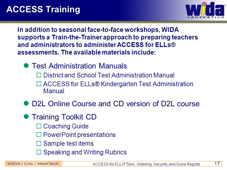 ACCESS Training Test Administration Manuals