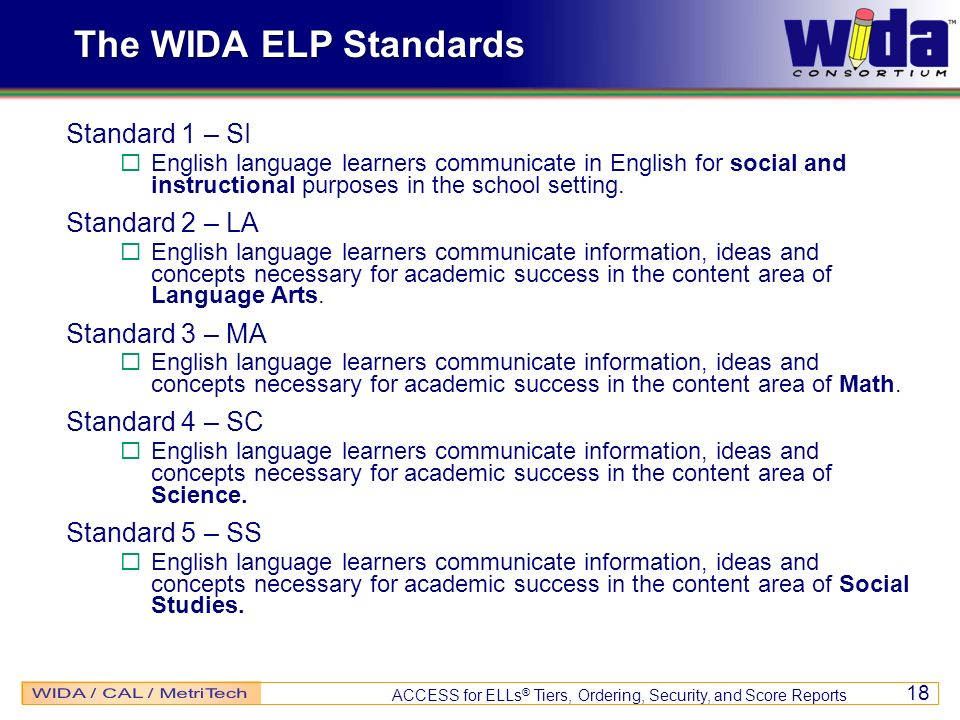 The WIDA ELP Standards Standard 1 – SI Standard 2 – LA Standard 3 – MA