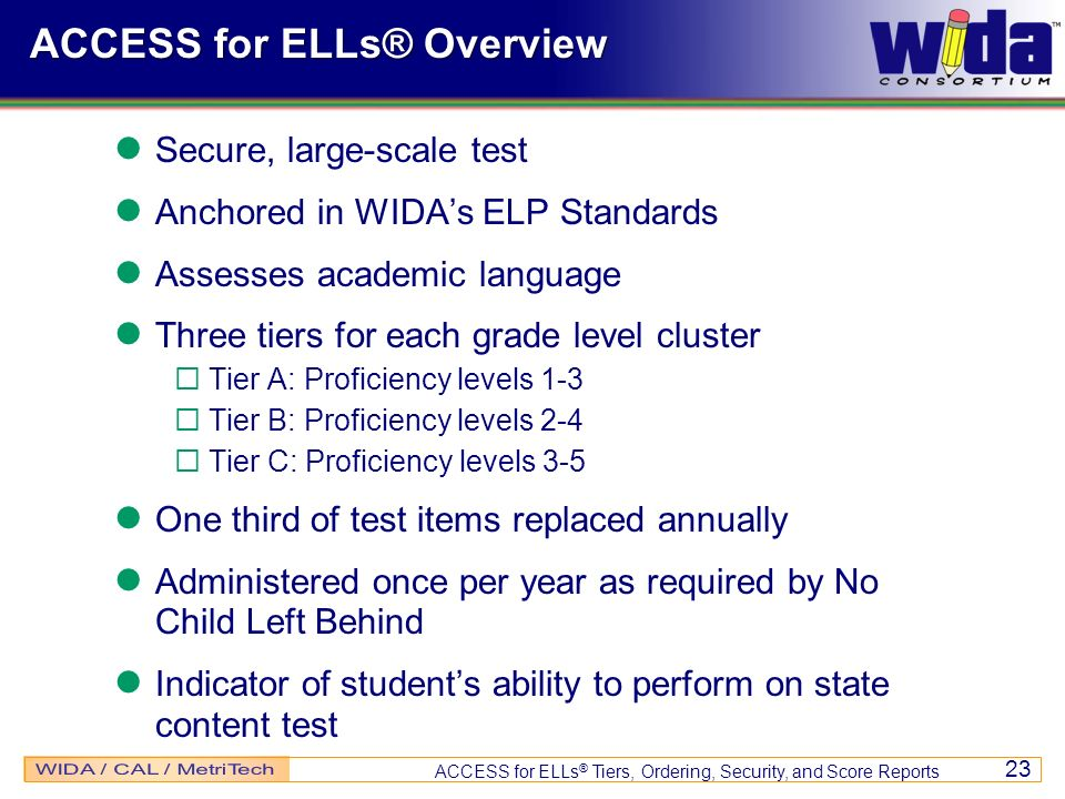 ACCESS for ELLs® Overview