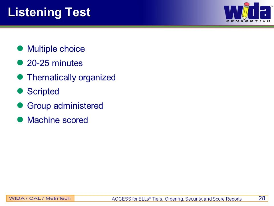 Listening Test Multiple choice 20-25 minutes Thematically organized
