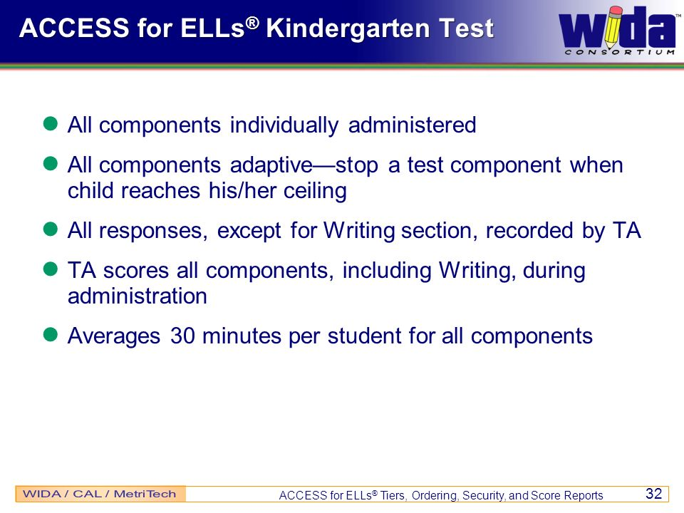 ACCESS for ELLs® Kindergarten Test