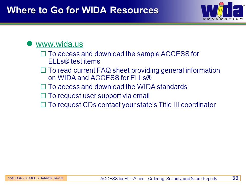 Where to Go for WIDA Resources