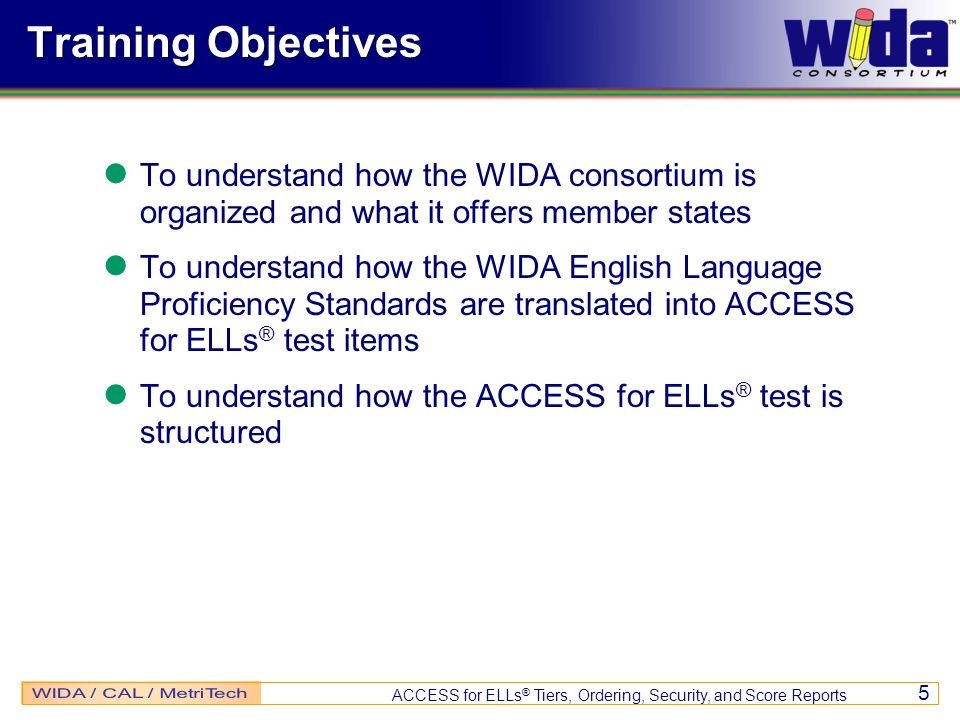 Training Objectives To understand how the WIDA consortium is organized and what it offers member states.