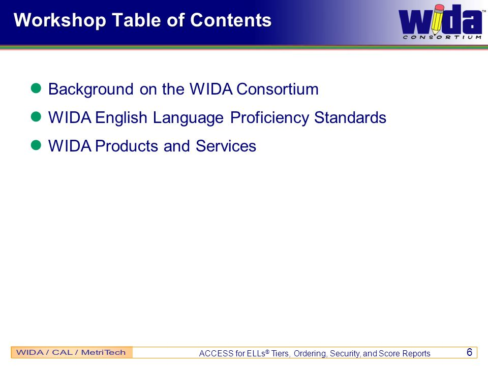 Workshop Table of Contents