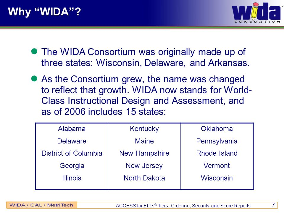 Why WIDA The WIDA Consortium was originally made up of three states: Wisconsin, Delaware, and Arkansas.