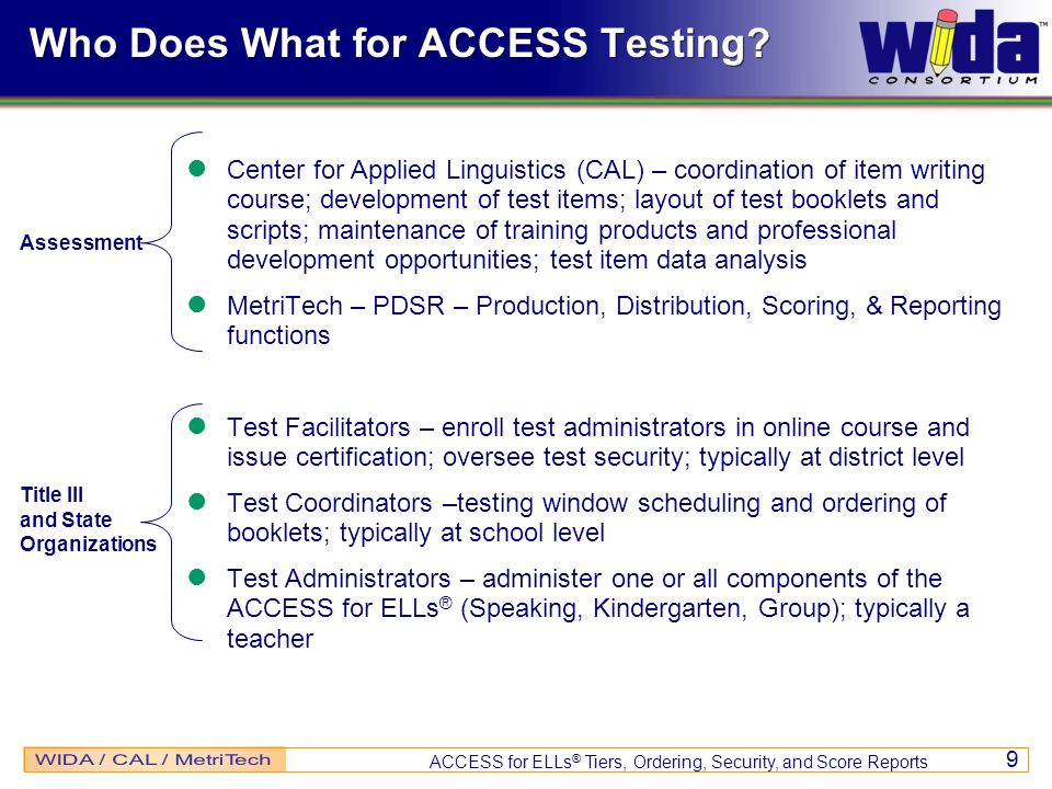 Who Does What for ACCESS Testing