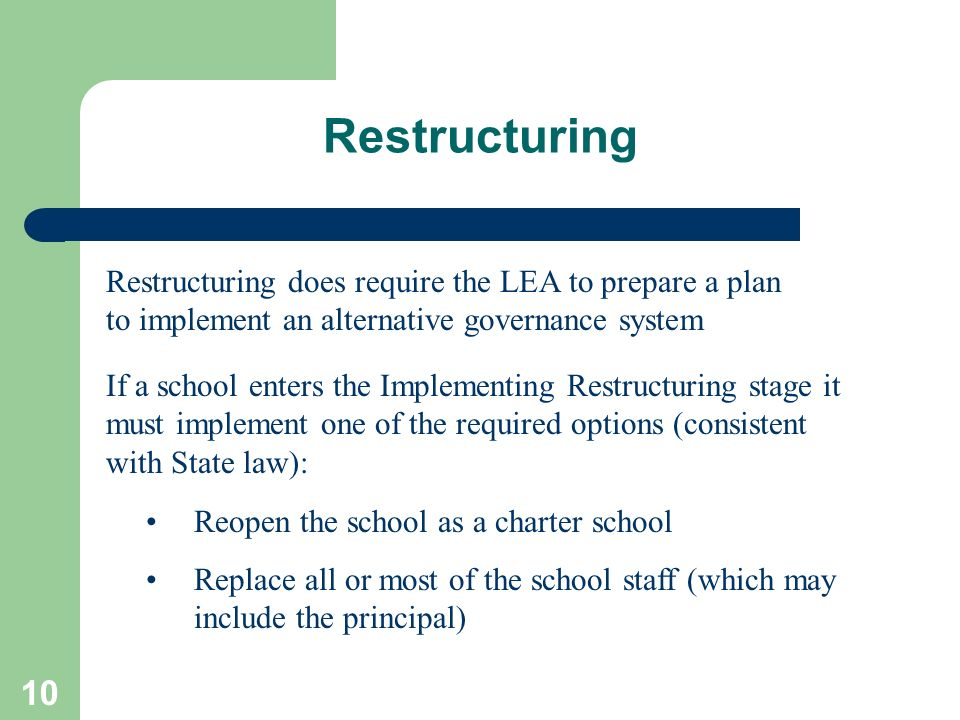 Restructuring Restructuring does require the LEA to prepare a plan to implement an alternative governance system.