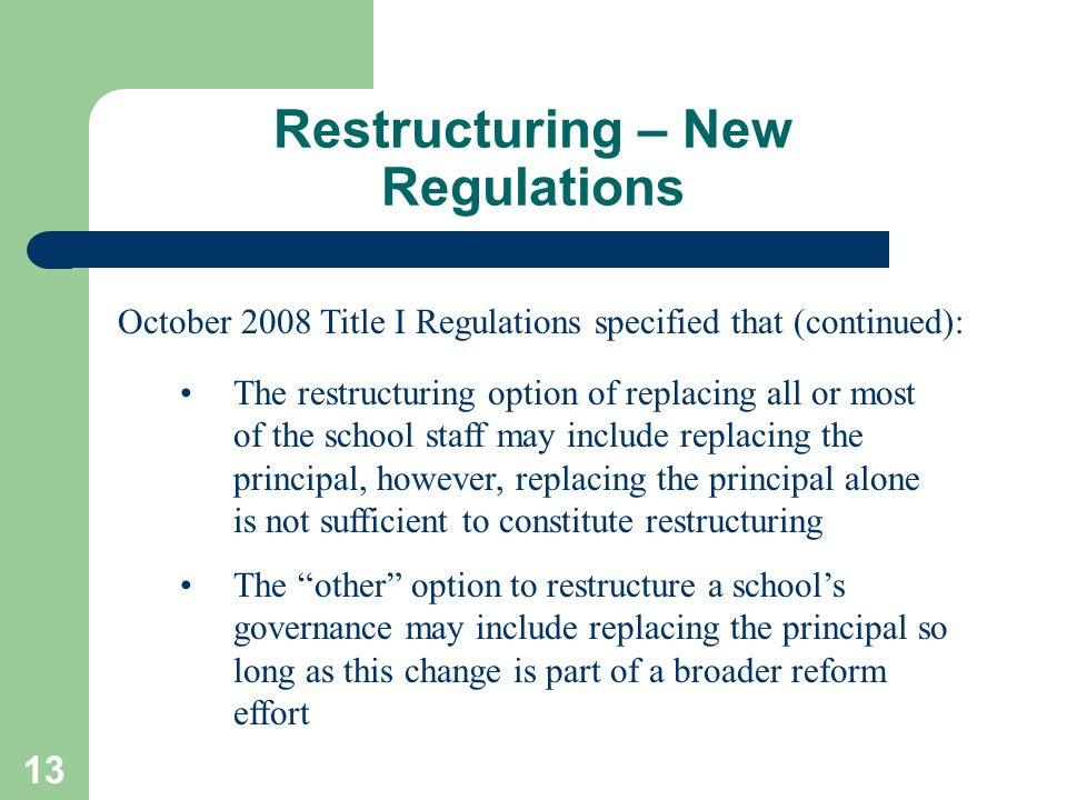 Restructuring – New Regulations